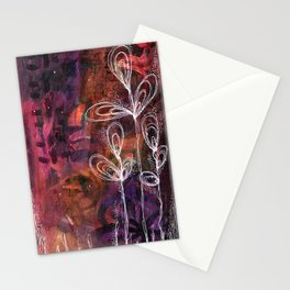 Floral Linework Illustration on Acrylic Background Stationery Cards