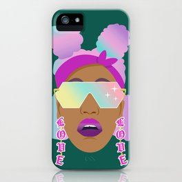 Top Puffs Girl #naturalhair #rainbowhair #shades #lipstick #blackunicorn #curlygirl iPhone Case