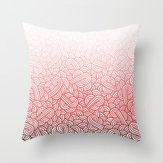 Gradient red and white swirls doodles Throw Pillow