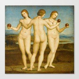 """Raffaello Sanzio da Urbino """"Three Graces"""", circa 1504-1505 Canvas Print"""
