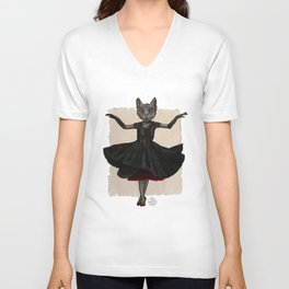 Twirling, Twirling, Couture Kitty Unisex V-Neck