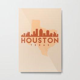 HOUSTONT TEXAS CITY MAP SKYLINE EARTH TONES Metal Print