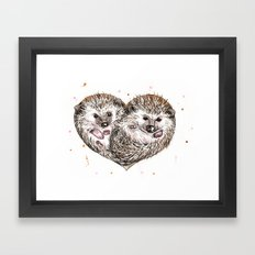 hedgehog love Framed Art Print