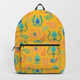 Yellow Ikat Doodle Pattern Backpack