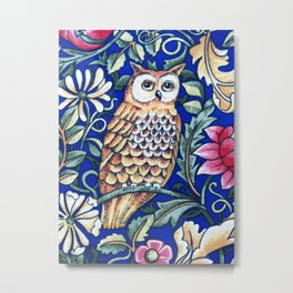 Art Nouveau Owl Tapestry, Beige and Cobalt Blue Metal Print