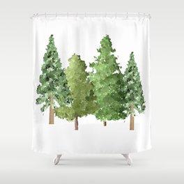 Christmas Pine Trees Shower Curtain