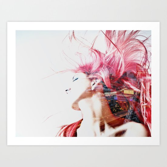 Red hair city Art Print