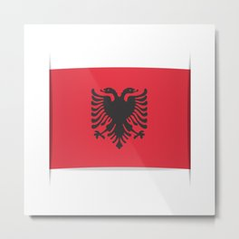 Flag of Albania, officially the Republic of Albania. Vector illustration of a stylized flag. Metal Print