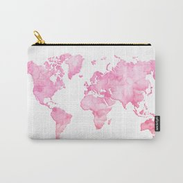Pink watercolor world map Carry-All Pouch