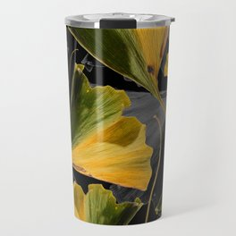 Yellow Ginkgo Leaves on Black Travel Mug
