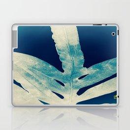 Green Fern at Midnight Bright, Navy Blue Laptop & iPad Skin