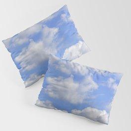 Fluffy clouds blue sky sunny day Pillow Sham