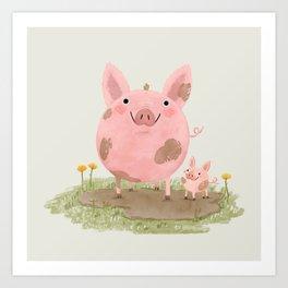 Piggies in a Mud Puddle Art Print