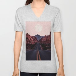 Road Red Moonrise Unisex V-Neck