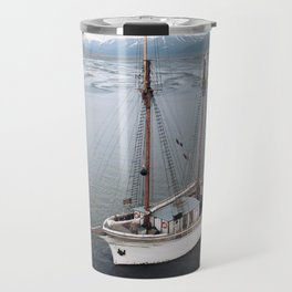 Sailing Ship in front of a Mountain Valley in Norway Travel Mug