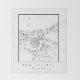 New Orleans Louisiana Street Map Throw Blanket