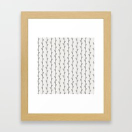 Gray Botanicals Stripes Framed Art Print
