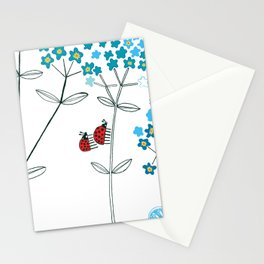 Ladybirds and butterflies and Forget-me-not Stationery Cards
