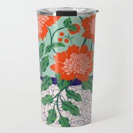 Cadmium and Cobalt Floral Travel Mug