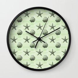 Mint Sea Shells Wall Clock