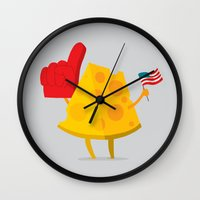 cheese Wall Clocks featuring cheese by alex eben meyer