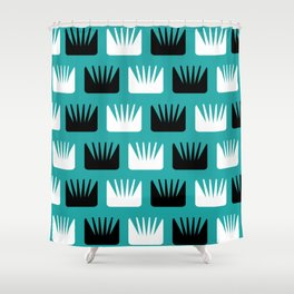 Mid Century Modern Abstract Flowers Teal Shower Curtain