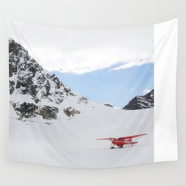 Small Plane Beside a Snow Covered Mountain Wall Tapestry