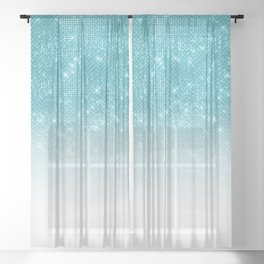 Glamorous Sparkly Aqua Blue Glitter Sequin Ombre Sheer Curtain