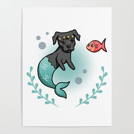 Mermaid Princess Pit Bull Dog with Little Fish Friend Poster