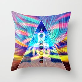 Rainbow Rays 7 Chakra Healing Meditation Throw Pillow