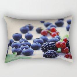 Fresh wild berries, blackberries, blueberries and currants in still life Rectangular Pillow