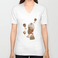 hot air balloon V-neck T-shirts featuring Hot Air Balloon Dream by KarenHarveyCox