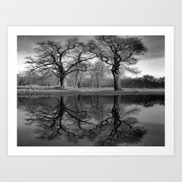 Black White Coast Lake Landscape Lake House Art Coastal Art A291 Art Print