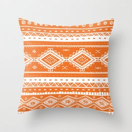 Tribal Aztec Lace Pattern (orange) Throw Pillow