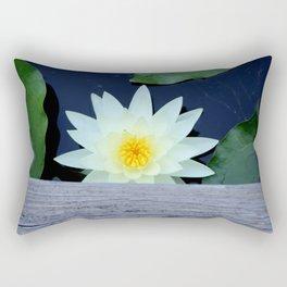 White Water Lily Under the Bridge Rectangular Pillow