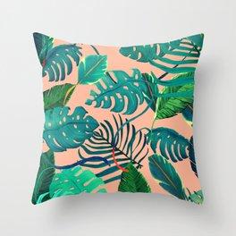 Summer Tropical Leaves Throw Pillow