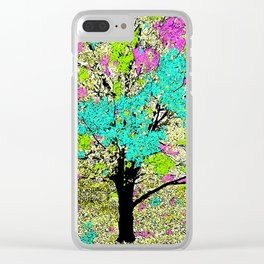 TREES PINK AND GREEN ABSTRACT Clear iPhone Case
