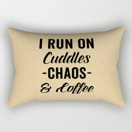 Cuddles, Chaos & Coffee Funny Quote Rectangular Pillow