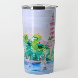 Elbow Reef Lighthouse Hope Town, Abaco, Bahamas Watercolor painting Travel Mug
