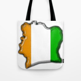 Ivory Coast Cote d'Ivoire Map with Flag Tote Bag
