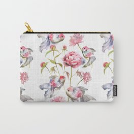 Blush Pink Peony Flowers with Fish Design Carry-All Pouch