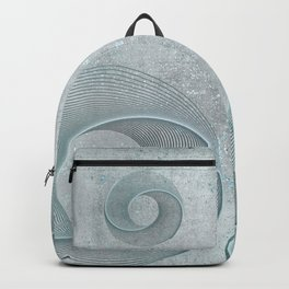 Geometrical Line Art Circle Distressed Teal Backpack