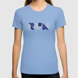 Run - Geometric Shapes ( Navy & Silver) T-shirt