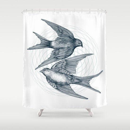Two Swallows Shower Curtain