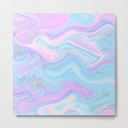 Sea Marble Candy Pattern - Violet, Aqua and Blue Metal Print