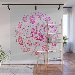 Triceratops Rocks! | Fiery Pink Ombré Wall Mural