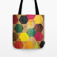 bebop Tote Bags featuring Wood Prints by Simi Design