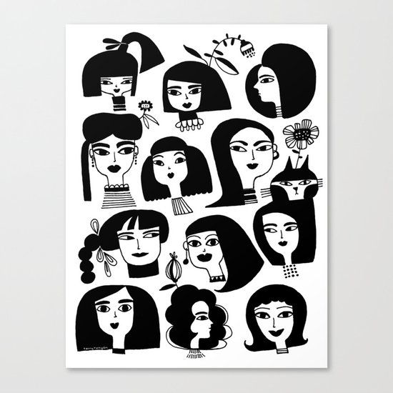 GIRLS AND ONE CAT Canvas Print