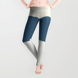 Blue, Linen White, Beige and Off White 4 Bold Stripes - 2020 Color of the Year Chinese Porcelain Leggings
