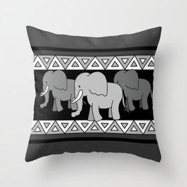 Traveling Elephants Throw Pillow